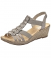 Wedge Sandal with Fanned Detail Grey