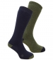 Wool Rich Long Sock Navy/ Green Twinpack