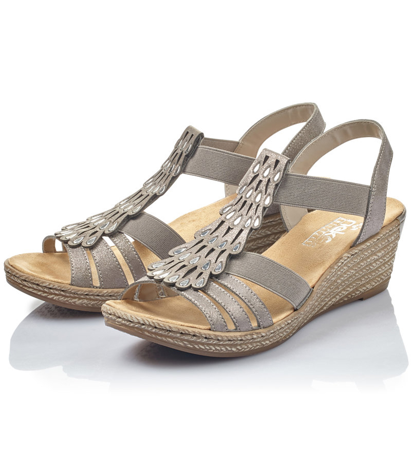 Wedge Sandal with Fanned Detail
