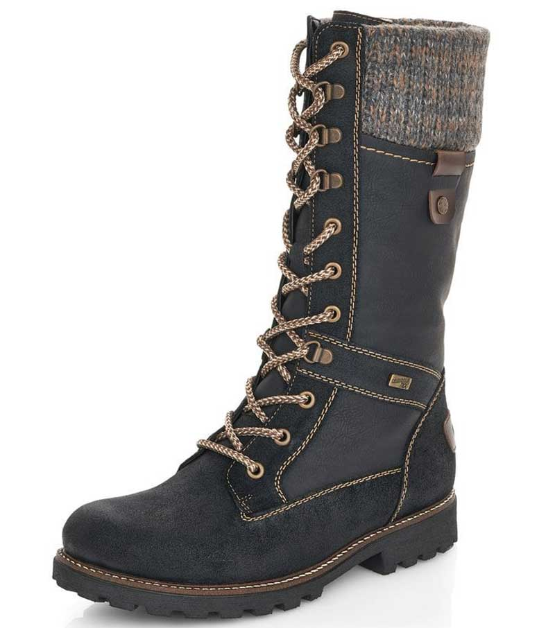 Lace Up Boot with Knitted Cuff