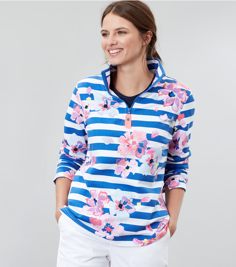 Fairdale Print Zip Neck Top