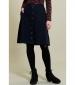 Button Front Skirt Navy