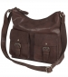Zip Top Bag with Buckle Pockets Brown