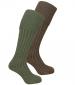 Luxury Knee Length Stocking Lovat / Oatmeal Twinpack