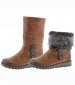 Eagle Fur Top Ankle Boot Brown